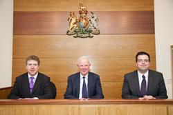 left-right: Dermot Cahill (Head of the School of Law), Lord Chief Justice, Stephen Clear (Law School).