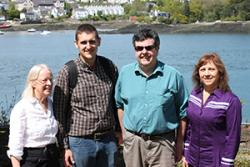 Professor Jean Ware, of the School of Education, with Nathan Brinklow, PhD student Siôn Aled Owen and Callie Hill.