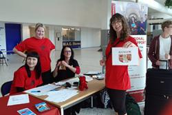 Bangor University's International Education Centre staff ready to offer a friendly welcome to international students arriving at Manchester Airport.