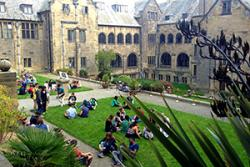 International students relaxing in the Inner quad.
