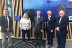 (L-R) Prof Lewis LeVay, Dr Shelagh Malham, Ambassador Mulhall, Prof John G. Hughes, Hywel Williams MP