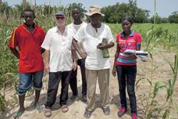 Professor John Witcombe (2nd from left) during a visit to Senegal