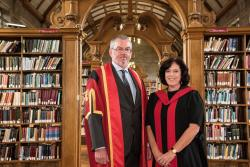 Professor John Porter, Honorary Fellow, with Professor Morag McDonald in the Main Library at Bangor University