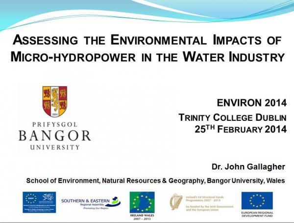 John Gallagher's Presentation: Environmental Impacts of Micro-hydropower