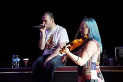 Katherine performing with Ed Holden.