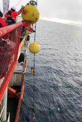 Large yellow floats connected to several scientific sensors are lowered over the edge of a ship in the Arctic Ocean. : Photo from Nansen and Amundsen Basins Observational System