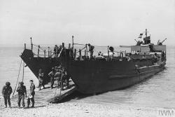 LCT 326 was a Mk III 'Landing Craft Tank' designed to land armoured vehicles during amphibious operations, : Image courtesy Imperial War Museum