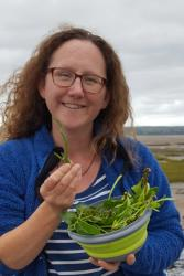 KESS PhD student Liz Morris-Webb, after a successful forage for some tasty coastline plants, including glasswort and sea purslane.