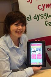 Lowri Mair Jones shows the app under development on a tablet.