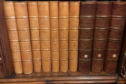 Some of the volumes containing the letters which are stored in the Mostyn Estate Library.