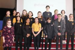 Ysgol Friars pupils who took part, with their mentors.