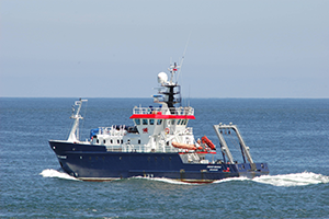 Bangor University's research vessel the RV Prince Madog at sea undertaking marine renewables research for the SEACAMS2 project