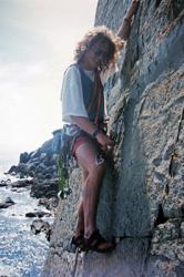 Matt climbing in Pembroke with the Bangor University Mountaineering Society.