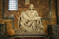 Michelangelo's Pietà in St Peter's Basilica in the Vatican. : Stanislav Traykov via WIkimedia Commons