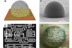(a) Conceptual drawing of nanoparticle-based metamaterial solid immersion lens (mSIL) (b) Lab made mSIL (c) SEM image of 60 nm sized imaging sample (d) corresponding superlens imaging of the 60 nm samples by the developed mSIL.