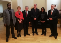 NDIC Visit: Mansur Yusuf Gwadabe (Deputy Manager, HR Department, NDIC), Mrs Davies, Prof Iwan Davies, (VC, Bangor University), Professor Jon Williams (Bangor Business School), Hon. Omolala Ambiola-Edewor (Executive Director, Corporate Services, NIDC) & Stephen Jones