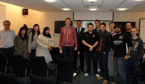 Year 2 and 3 students with Professor John Goddard (left) and Neil Doncaster (centre of image)