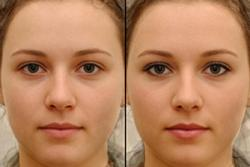 An image with and without make-up used in the research.