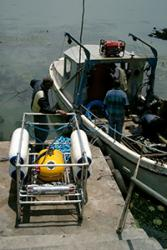 Making preparations for a seismic survey, in the harbour of Gorgora, a village on the northern coast of Lake Tana, source of the Blue Nile.