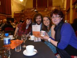 Hannah Pickering, Daniel Herbert and Harriet Weller with Mari Wiliam and the Teacher of the Year award.
