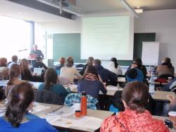 Bangor lecturer Hefin Gwilym delivers a lecture on 'Current Discourses in Volunteer Engagement in Europe'