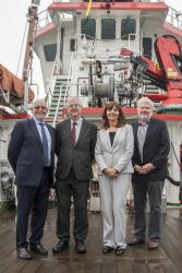 Left-right aboard the Prince Madog are Prof Graham Upton, Interim Vice-Chancellor; Mark Drakeford AM, First Minister; Lesley Griffiths AM, Minister for Energy & Rural Affairs and Prof David Thomas, Head of the School of Ocean Sciences.