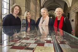 From left: Iona Rhys Cooke, Lynette Hunter of Bangor University with Luned Gonzalez and Nadine Laporte, grand-daughters of Michael D Jones and Liewsi Jones.