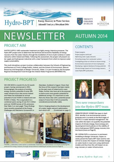 Project newsletter: new Hydro-BPT team members, lab experiments, publications and looking to the future.