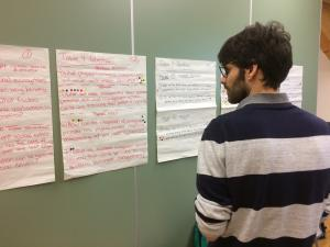 A delegate of the SalmarshNET meeting scrutinises the shortlist of 'key questions for saltmarsh research' identified from a pool of 200 original questions. Photo: Jordi Pagès