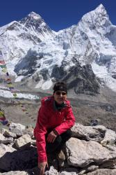 PhD student Lydia Simpson on Everest during a previous research expedition.