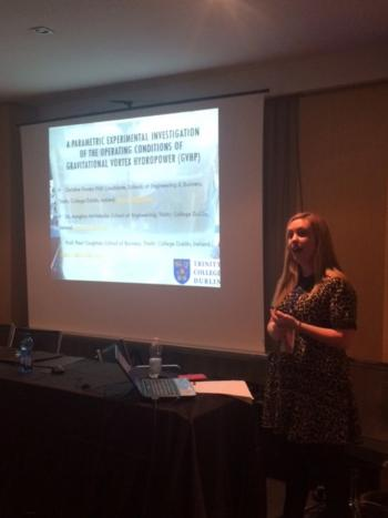 Hydro-BPT presentation: Christine presenting her prizewinning paper at conference