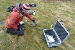 Measuring CO2 flux from an un-grazed marsh in Wales. Y Foryd, Gwynedd: all images Martin Skov.