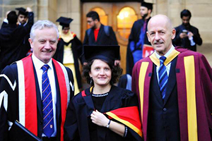 Polina Cowley , photographed with Vice Chancellor Professor John G Hughes and Prof  John Goddard after her graduation.