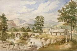 A watercolour showing Pont Rhiwaedog the hamlet of Rhos y Gwaliau, near Bala, painted by Mary Ann Malkin, 1846.: (C) Crown Copyright: RCAHWM 2017.