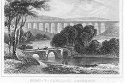 A  Telford itinerary is  being planned. This is an Undated etching of  Telford's Pontcysyllte Aqueduct.: (C) Crown Copyright: RCAHWM 2017.