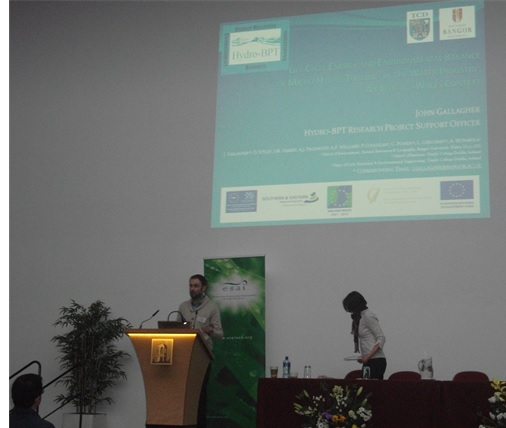 John Gallagher presenting aspects of Life Cycle Energy and Environment Balance of Hydro-BPT project at ENVIRON 2013.