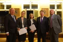 Pictured at the award ceremony, L-R: Simon Horsington, Barrister, 4-5 Grays Inns Square Chambers, London; Dr Oana Andreea-Macovei; Vivienne Forest, Academic Director, France-British Lawyers Society; Prof. Dermot Cahill; Guy Canivet