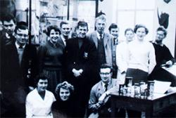 Professor Sir Gordon Conway (far right) with Professor Rogers Brambell and fellow students in the Natural History Museum.