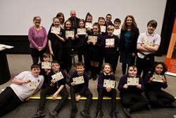With the participating Ysgol Aberconwy 'questers' are Gillian Brownson, Richard Burrows and prof Raluca Radulescu.
