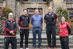 Tim Hoare (WRU Coach Development Manager–North), Rachael Taylor (WRU rugby co-ordinator RGC West), Dr Julian Owen (Lecturer Sport Physiology), Marc Roberts (WRU Regional Rugby Manager – North), Iona Williams (Canolfan BrailsforSport Development Manager