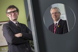 Dr Richard Neal and Professor Andrew Godkin receive £1.6 million from Cancer Research Wales to fund research into improving early diagnosis and and better treatment for patients with bowel cancer : Copyright Huw John