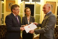 L-R: Prof. Dermot Cahill, Head of Bangor Law School, and Dr Oana Andreea-Macovei of University Toulouse-Capitole receive the Robertson-Horsington Prize from Guy Canivet, Honorary First President Cour de Cassation