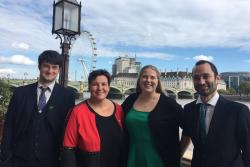Pictured left-right are: Osian Evans; Tonia Antoniazzi MP; Hannah Jones and Rubén Chapela-Orri.