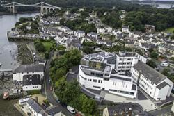 The new Marine Centre Wales building can be seen clearly in the foreground of the School of Ocean Sciences site in Menai Bridge.