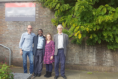 Dr Mark Rayment (lecturer in forestry), Wisdom Nyondoh (Marshal Papworth Fund scholar), Sandra Lauridsen (Marshal Papworth co-ordinator), and Dr Rob Brook (senior lecturer in agriculture and rural development). October 2017 © Genevieve Agaba.