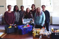 SVB students with some of the collected food.