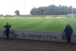 student Abbey Forshaw and Karen Thomas on their recent visit to St. George's Park.