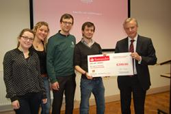 Jamie Muir, James Gudgeon, Maria O'Reilly and Theresa Schween from the Schools of Psychology and Business received their Prize from Professor John G. Hughes.  Team members Declan McClelland, Ben Haines and Emma-Louise Jones were not present.