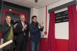 Lord Coe opens the Universty's new Sports Dome. With him are Lord Davies of Abersoch, Chair of the University Council and Vice-Chancellor Prof John G Hughes.