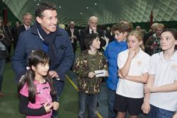 Young sports enthusiasts meet Sebastian Coe inside the Dome.